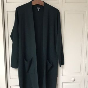 Eileen Fisher 100% Wool Long Cardigan Sweater Med